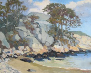 Half Moon Beach, Gloucester, MA. Artwork by Dennis McQuillen. Copyright 2012.